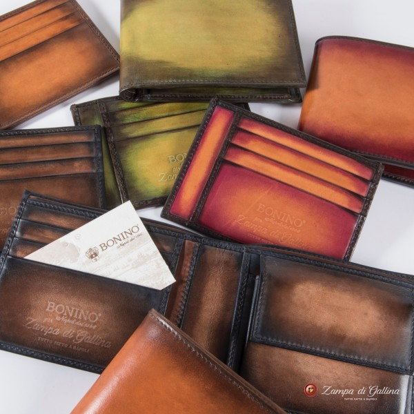 Bonino X Emilie Patine Light Cognac Patina leather billfold wallet with coin pocket