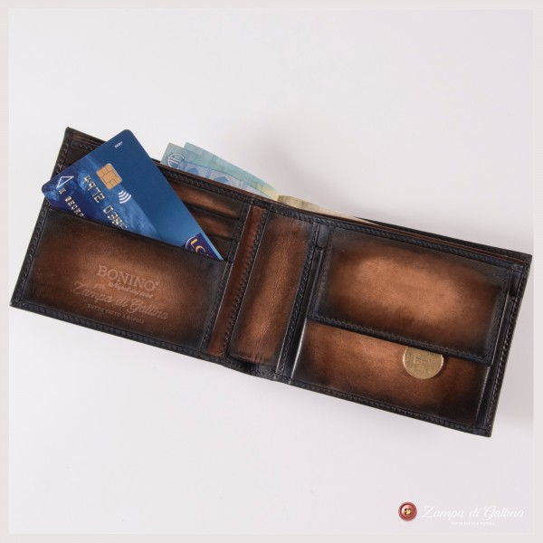 Bonino X Emilie Patine Burnt Pine Patina leather billfold wallet with coin pocket