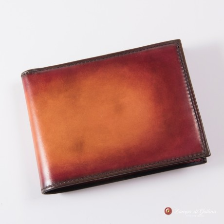 Bonino X Emilie Patine Blood Orange leather billfold wallet with coin pocket