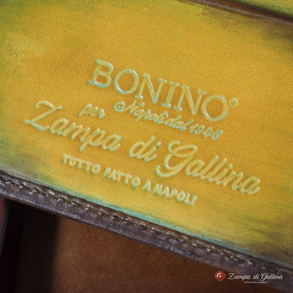 Bonino X Emilie Patine Autumn leave Patina leather billfold wallet with coin pocket