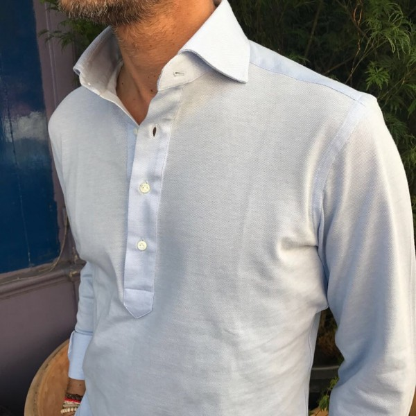 Slim fit Long Sleeve Light Blue Polo Shirt in Piqué Cotton