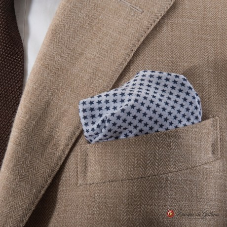 White with star patterns hand-tipped pocket square 100% linen
