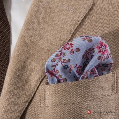 Blue with burgundy flower patterns hand-tipped pocket square 100% linen