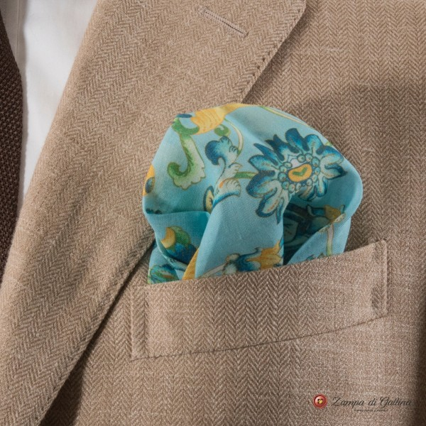 Blue with yellow flower patterns hand-tipped pocket square 100% linen