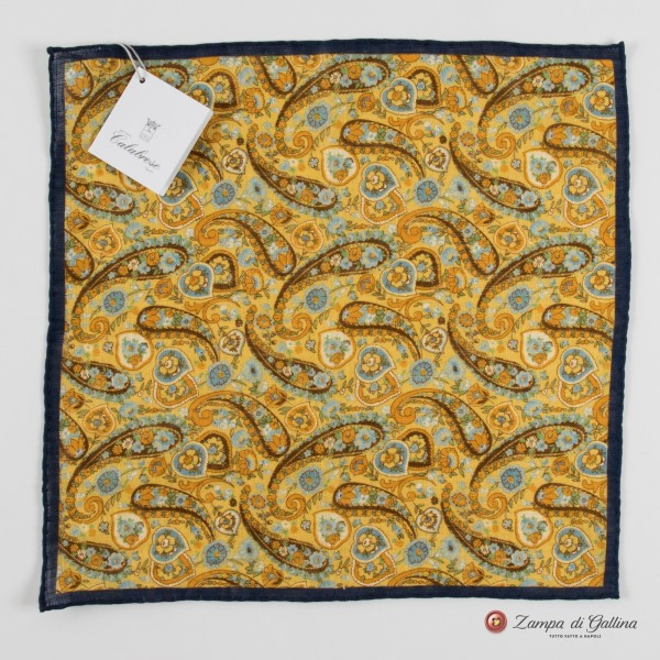 Mustard with paisley patterns hand-tipped pocket square 100% linen