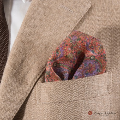 Salmon with patterns hand-tipped pocket square 100% linen