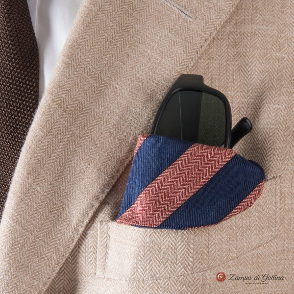 Blue and salmon stripped Eyewear Pocket Square
