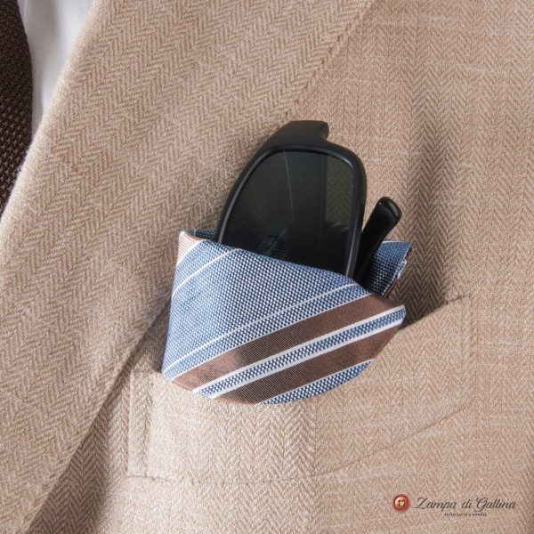 Blue with brown stripes Eyewear Pocket Square