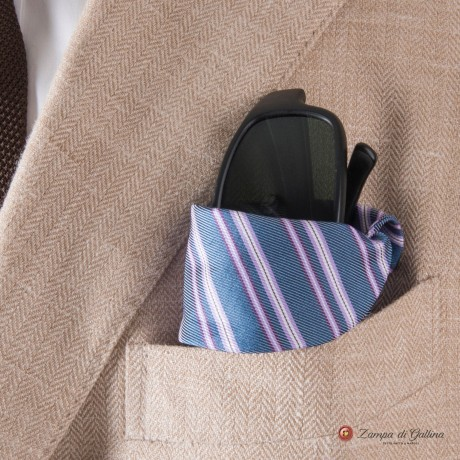 Blue with mauve stripes Eyewear Pocket Square