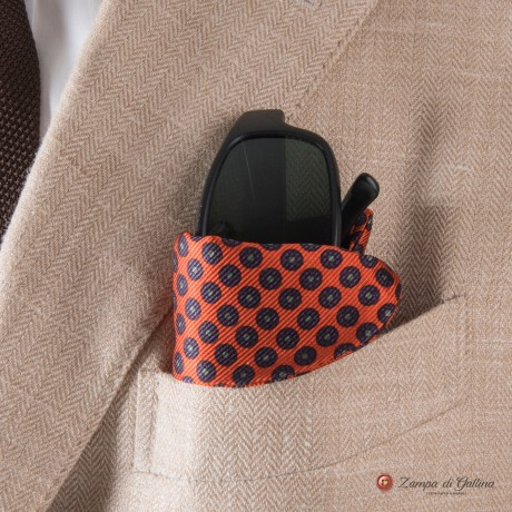 Orange with Ancient Madder patterns Eyewear Pocket Square