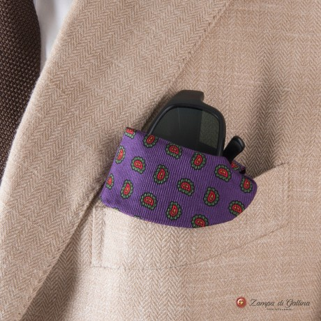 Violet with paisley patterns Eyewear Pocket Square