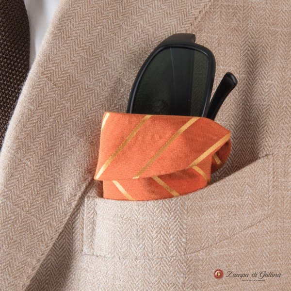 Orange with stripes Eyewear Pocket Square