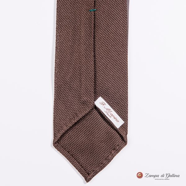 Unlined Brown Fine Garza Francesco Marino Napoli Tie