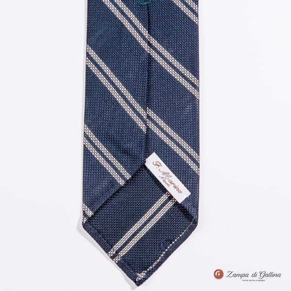Unlined Blue With White Stripes Fine Garza Francesco Marino Napoli Repp Tie
