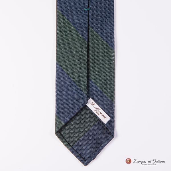 Unlined Blue and Green Fine Garza Francesco Marino Napoli Repp Tie