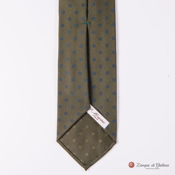 Unlined Olive Green with Ancient Madder Patterns Francesco Marino Napoli Tie