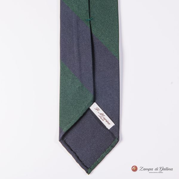 Unlined Blue and Green Francesco Marino Napoli Repp Tie