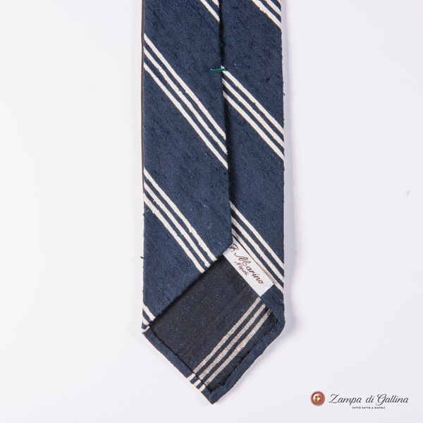 Unlined Blue and White Shantung Francesco Marino Napoli Repp Tie