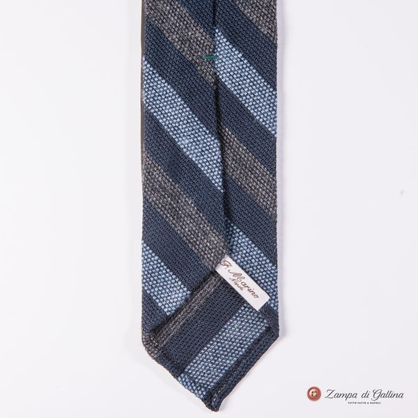 Unlined Blue and Brown Garza Francesco Marino Napoli Repp Tie