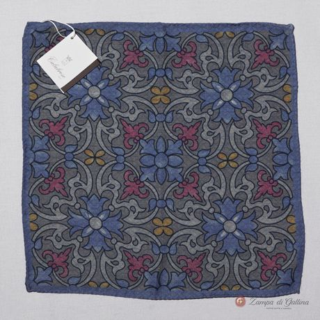 Blue and Grey Calabrese 1924 Pocket square hand-tipped
