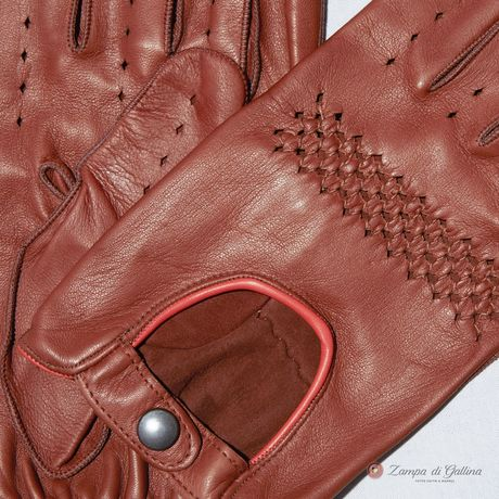 Unlined Omega Gold lambskin Driving Gloves
