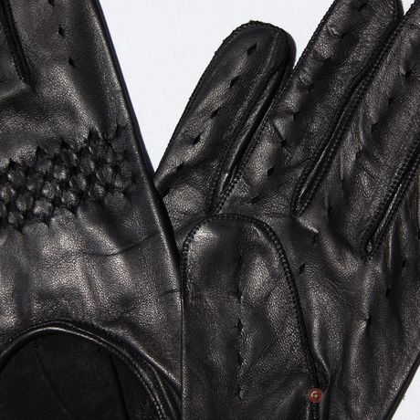 Unlined Omega Black lambskin Driving Gloves