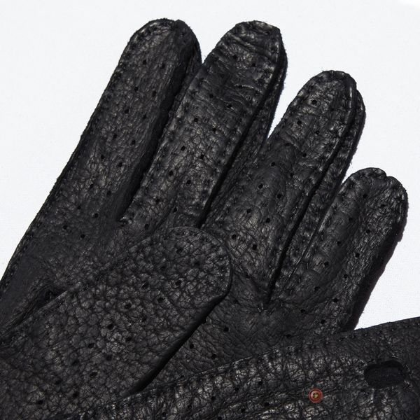 Unlined Handstitched Black Genuine Peccary Driving Gloves Omega Guanti