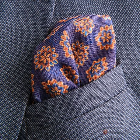 Double-sided Purple with Flower patterns Calabrese 1924 hand-tipped Pocket square