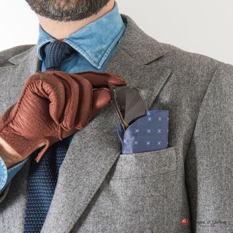 Blue with blue patterns double-sided Eyewear Pocket Square