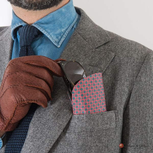 Blue and Rose patterns double-sided Eyewear Pocket Square