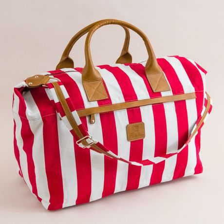 Lipari Calabrese 1924 Travel Bag with pink stripes