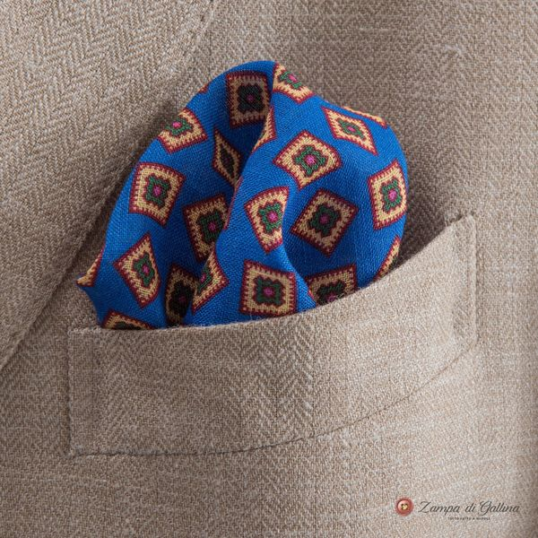 Royal Blue Pocket Square with geometrical patterns Francesco Marino for Zampa di Gallina