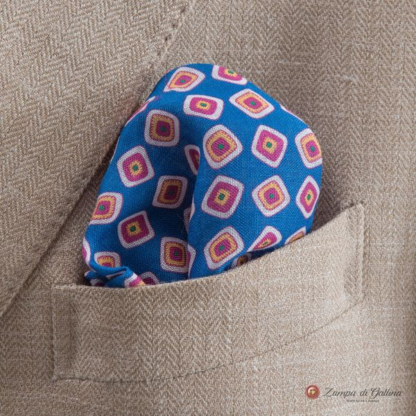 Blue Pocket Square with vintage patterns Francesco Marino for Zampa di Gallina