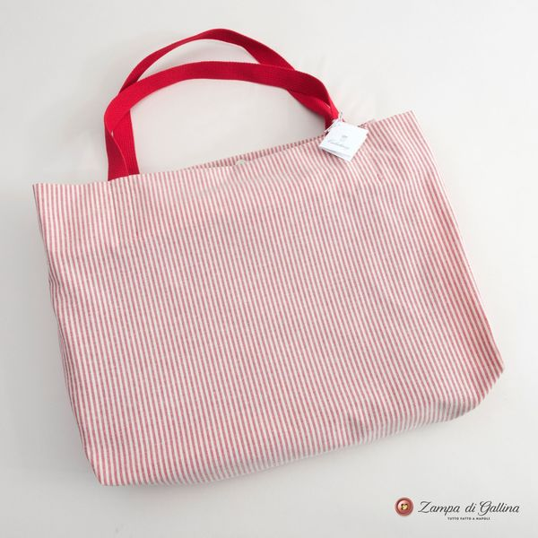 White and Pink Stripes Calabrese 1924 Summer Bag