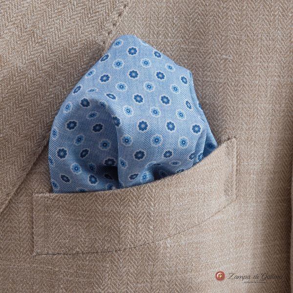 Blue with Ancient Madder Patterns Hand-tipped Pocket Square 100% Silk