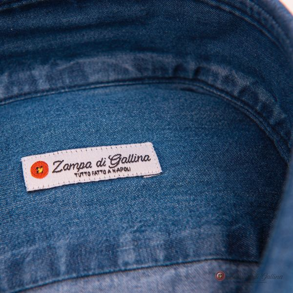 Blue Denim Slim Fit Zampa di Gallina shirt
