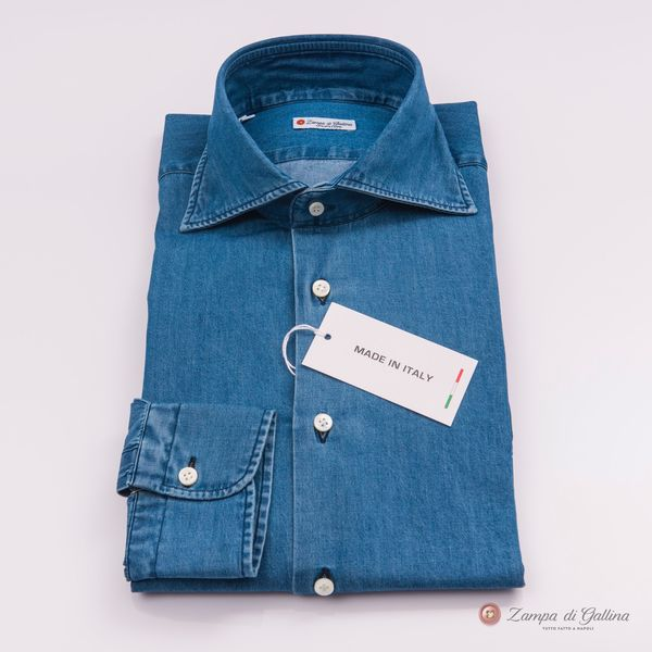 Chemise Zampa di Gallina bleu denim Slim Fit