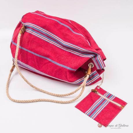 Pink with Blue  Stripes Vietri Calabrese 1924 Seabag
