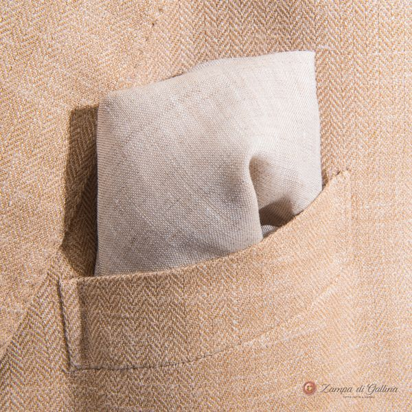 Beige with hand-tipped serrated welt pocket square 100% linen