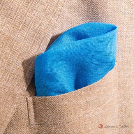 Light Blue with hand-tipped serrated welt pocket square 100% linen