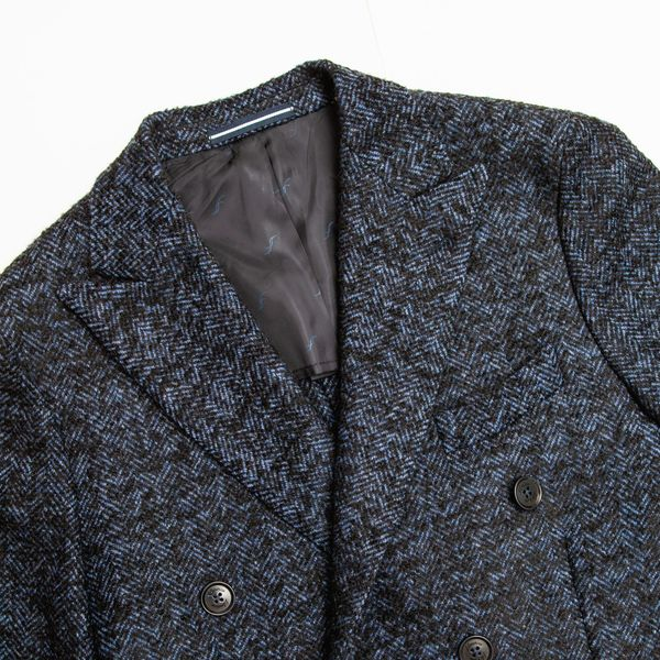 Petrol Blue Double-Breasted Coat Filomarino Napoli