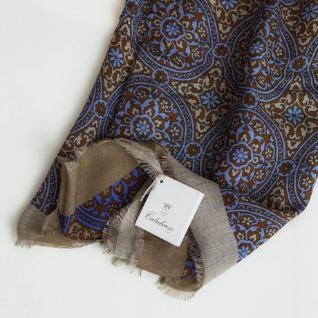 Blue and Brown Modal and Cashmere Calabrese 1924 Scarf