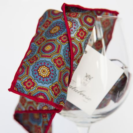 Ancient Madder Patterns Hand-tipped Pocket Square 100% Silk