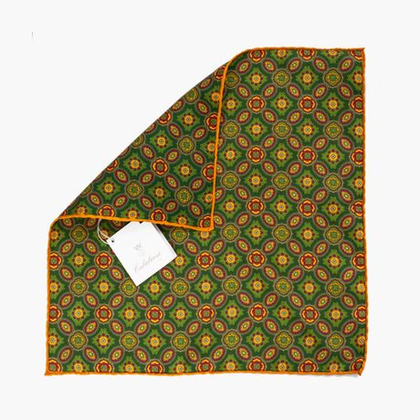 Yellow and Green Ancient Madder Patterns Hand-tipped Pocket Square 100% Silk