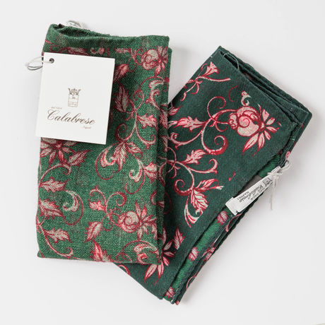 Double-sided Green with flower patterns Calabrese 1924 hand-tipped Pocket square