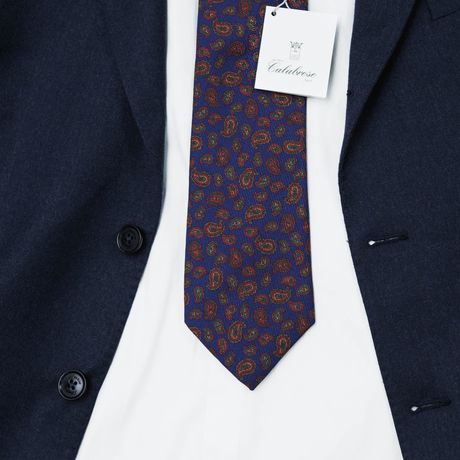 Blue with Paisley patterns Calabrese 1924 necktie