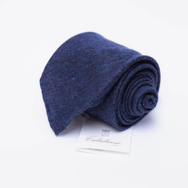 Unlined Wool and Silk Blue Calabrese 1924 necktie