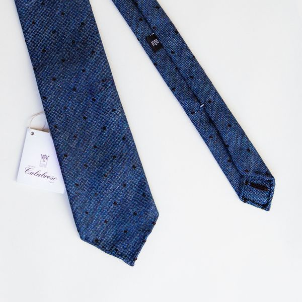 Unlined Wool and Silk Blue with dots Calabrese 1924 necktie