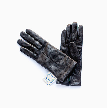 Black lambskin gloves with cashmere lining for women