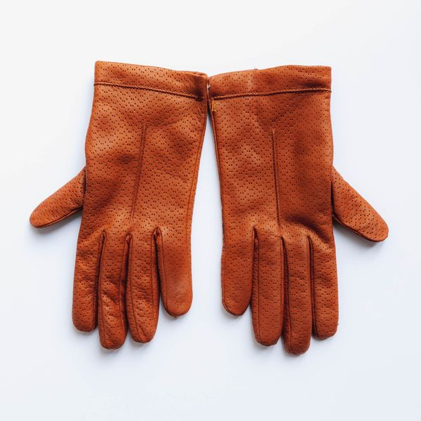 Hazelnut lambskin gloves with cashmere lining for women